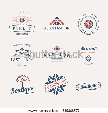 Asian fashion shops logo templates set. Vector ethnic ornamental design for clothing and accessories boutiques.