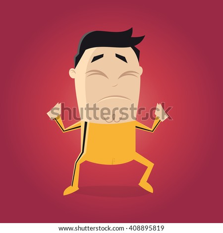 asian fighter with yellow track suit cartoon clipart  - stock vector