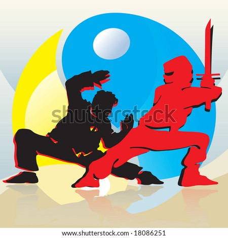 Asian Fighters And Yin-Yang - stock vector