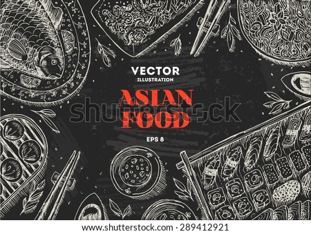 Asian Food Chalk Board Frame. Linear graphic. Vector illustration - stock vector