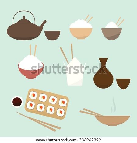 Asian food icon set. cartoon flat icon - stock vector