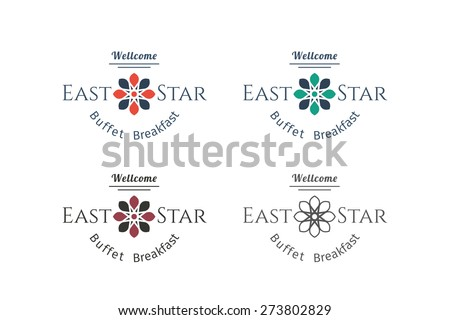 Asian food logo templates set. Vector ethnic ornamental design for restaurants and cafes. - stock vector