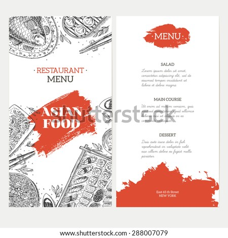 Asian Food menu template. Linear graphic. Vector illustration - stock vector