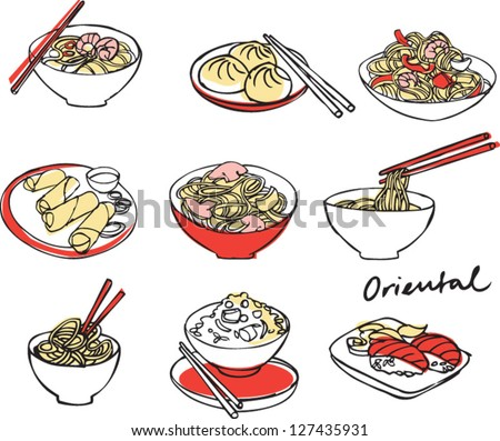 Asian food set vector illustration - stock vector