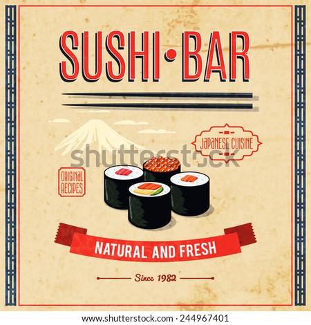 Asian food sushi bar natural and fresh japanese cuisine poster vector illustration - stock vector