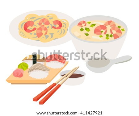 Asian food vector. Japanese food illustrations. Chinese, thai food flat, cartoon style. Web banner isolated on white background. Tom Yam soup, sashimi, chopstick, noodles with shrimps - stock vector