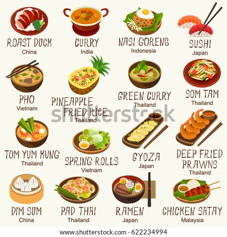 Asian foods vector set stock vector 622234994 shutterstock for Abis japanese traditional cuisine