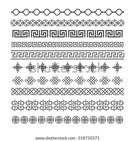 Asian frame ornament, pattern brush ,korean, chinese, japanese vector set - stock vector