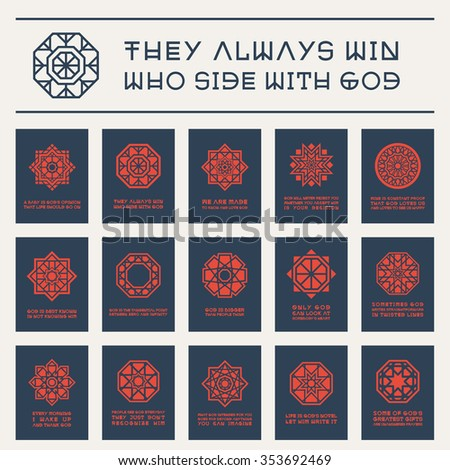 Asian geometric ornaments with religious quotes. Vector set of posters - stock vector