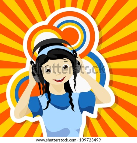asian girl with headphones listening to music - vector illustration