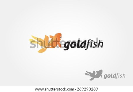 asian goldfish, vector logo illustration - stock vector
