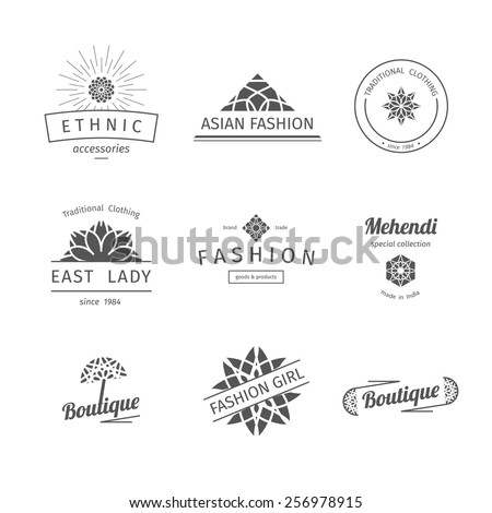 Asian isolated fashion shops logo templates set. Vector ethnic ornamental design for clothing and accessories boutiques. - stock vector