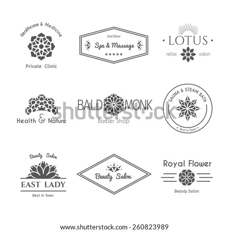 Asian isolated health and beauty logo templates set. Vector ethnic ornamental design for beauty salons, spa, massage, barber shops, saunas, healthcare and medicine.  - stock vector
