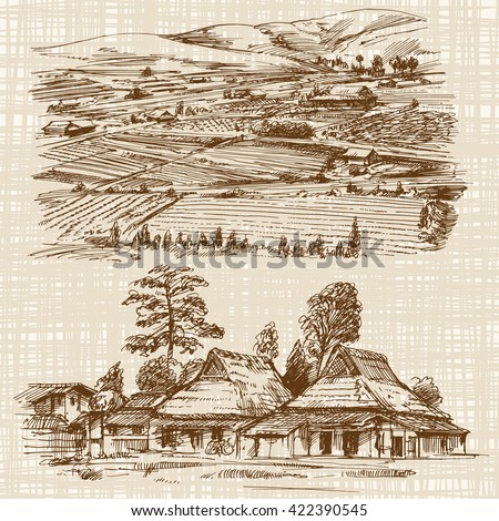 Asian landscape with rural houses. Hand drawn illustration. - stock vector