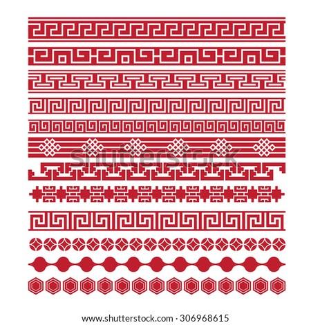 asian lattice ornaments, chinese, japanese, korean vector set - stock vector