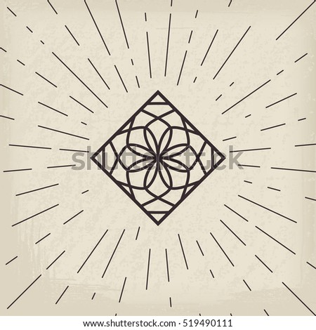 Asian linear lotus ornament. Vector decorative geometric symbol.