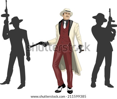 Asian mafioso godfather with a gun and armed crew silhouettes retro styled cartoon character with colored lineart - stock vector