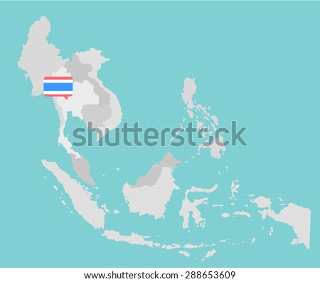 Asian map with Thailand point flag flat design vector - stock vector