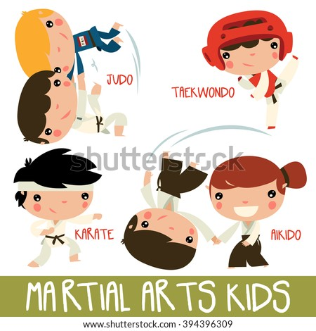 asian martial arts kids. children fighting. judo boys, taekwondo character, karate kid and aikido girl fighting boy. - stock vector