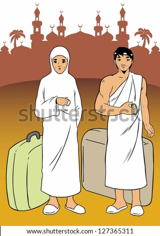 Asian muslim made the pilgrimage to Mecca - stock vector