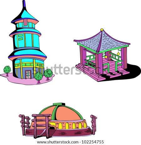 Asian oriental temples. Set of color vector illustrations.