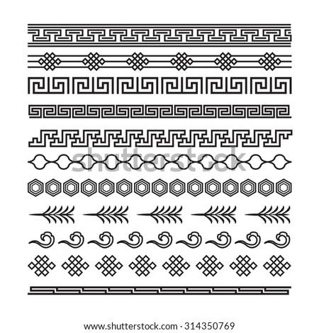 asian ornaments, chinese, japanese, korean vector set - stock vector