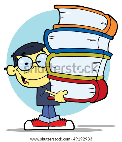 Asian School Boy Carrying A Stack Of Books