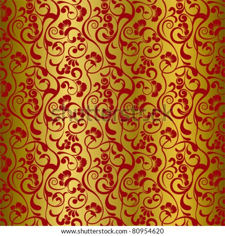 Asian seamless floral pattern - stock vector