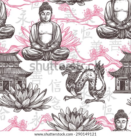 Asian seamless pattern with sketch pagoda building lotus flower dragon vector illustration - stock vector