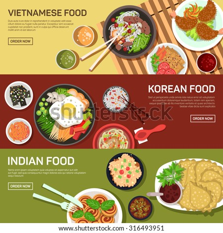 Asian street food web banner , thai food , japanese food , chinese food flat design - stock vector