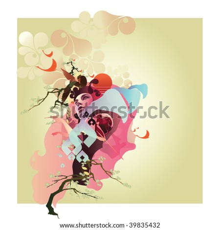 Asian-style illustration featuring cherry blossoms and a buddha with a rising sun. - stock vector