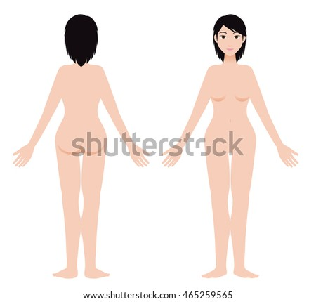 asian woman body front and back view, vector illustration