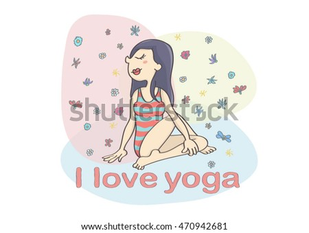 Asian woman exercising yoga with colorful background. Cute Asian woman or girl in sitting yoga pose.
