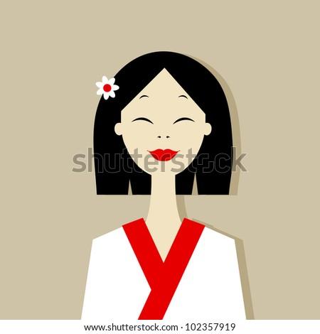 Asian woman portrait for your design - stock vector