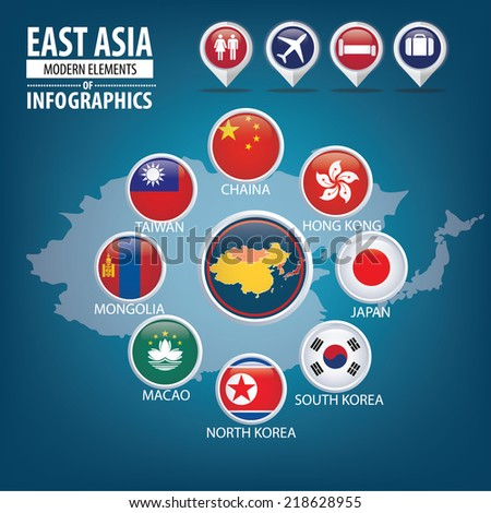 Asiatic Flags Round Icons - stock vector