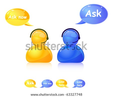 ask help icon. Agent on phone in call center. - stock vector