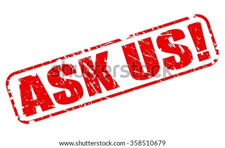 ASK US red stamp text on white - stock vector