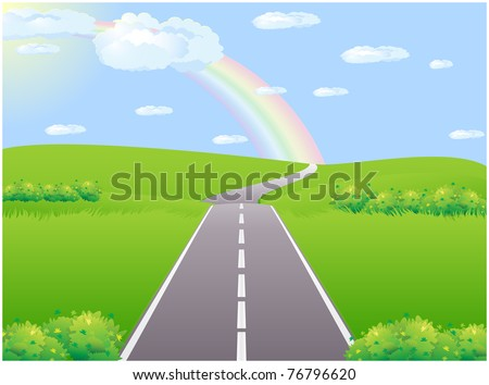 Asphalt road in the green summer field with a rainbow on the horizon - stock vector