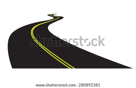 Asphalt road isolated on white background. Vector illustration of winding road. - stock vector