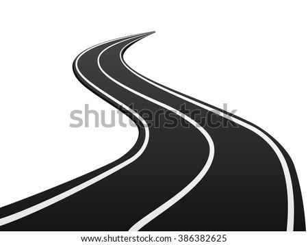 Asphalt road on a white background. - stock vector