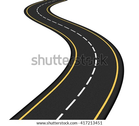Asphalt road on white background, vector eps10 illustration - stock vector