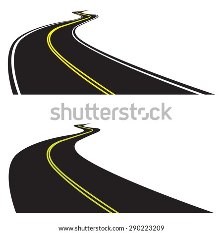 Asphalt road set isolated on white background. Vector illustration of winding road. Perspective view. - stock vector