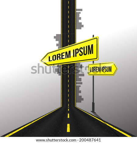 asphalt road with sign background, Vector graphic - stock vector