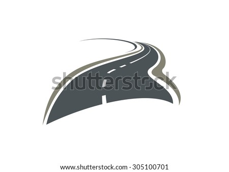 Asphalt winding road disappearing beyond the horizon isolated on white background. For travel or transportation design - stock vector