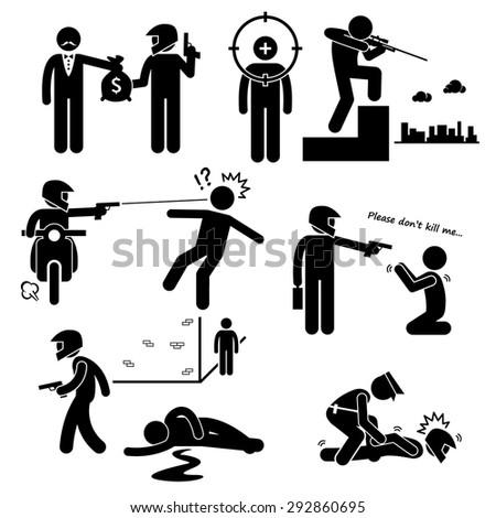 Assassination Hitman Killer Murder Gunman Stick Figure Pictogram Icons - stock vector