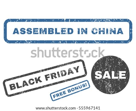 Assembled In China rubber seal stamp watermark with additional images for Black Friday sales. Vector cobalt and gray emblems. Tag inside rectangular banner with grunge design and dirty texture.