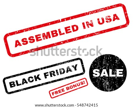 Assembled In USA rubber seal stamp watermark with additional design elements for Black Friday sales. Vector red and black signs. Tag inside rectangular shape with grunge design and unclean texture.