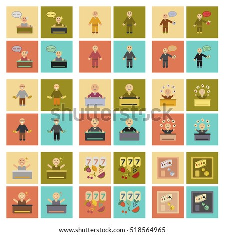 assembly flat icons poker game
