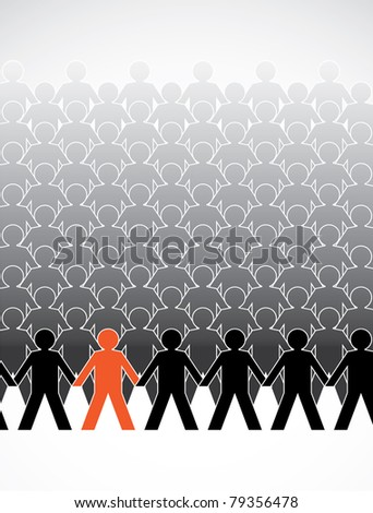 assembly of human figures in a row - illustration - stock vector