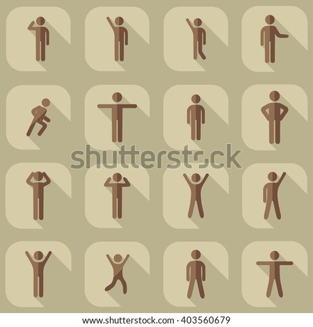 assembly of people silhouettes stick figure - stock vector